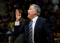 California head coach Mike Montgomery calls a play during the game against Creighton at Haas Pavilion in Berkeley, California on December 15th, 2012.   Creighton defeated California, 74-64.