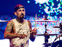 LAS VEGAS, NV - July 23, 2016: ***HOUSE COVERAGE*** Travis Barker pictured as Blink 182 perfoms at The Joint  at Hard Rock Hotel & Casino in Las vegas, NV on July 23, 2016. Credit: Erik Kabik Photography/ MediaPunch