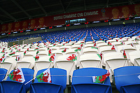 Wales flags on seats prior to the FIFA World Cup Qualifier Group D match between Wales and Austria at The Cardiff City Stadium, Cardiff, Wales, UK. Saturday 02 September 2017