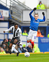 Ronan Curtis of Portsmouth right is dispossessed  by Brandon Hanlan of Gillingham during Portsmouth vs Gillingham, Sky Bet EFL League 1 Football at Fratton Park on 6th October 2018