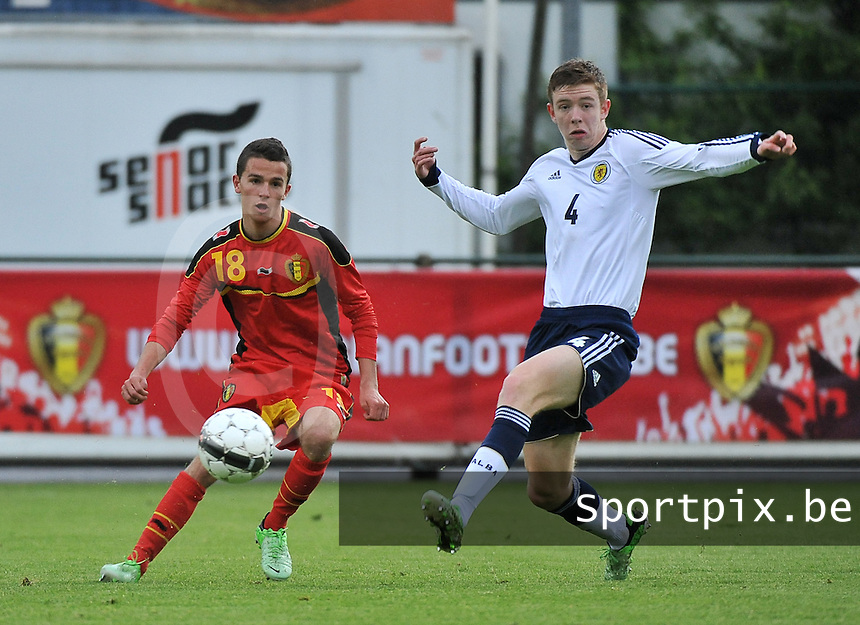 Scotland U19 - Belgium U19 : Siebe Schrijvers (18) and Stuart Findlay (4).foto DAVID CATRY / Nikonpro.be