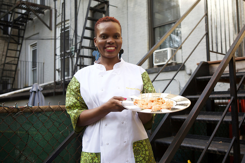 New York, NY - October 22, 2017: London's Tokunbo Koiki hosts a Nigerian pop-up cookout in Bed-Stuy as a part of New York African Restaurant Week.<br /> <br /> CREDIT: Clay Williams.<br /> <br /> &copy; Clay Williams / claywilliamsphoto.com