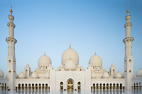 The Sheikh Zayed Grand Mosque in Abu Dhabi, also known as the White Mosque, is a masterpiece of architecture and craftsmanship. The courtyard floor is a mix of cut marble and white mosaic.