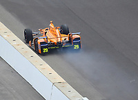 May 28, 2017; Indianapolis, IN, USA; IndyCar Series driver Fernando Alonso blows an engine during the 101st Running of the Indianapolis 500 at Indianapolis Motor Speedway. Mandatory Credit: Mark J. Rebilas-USA TODAY Sports