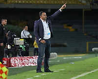BOGOTÁ- COLOMBIA, 29-10-2019:Harold Rivera director técnico Independiente Santa Fe.Acción de juego entre los equipos  Independiente Santa Fe   y el Atlético Nacional durante partido por la fecha 20 de la Liga Águila II  2019 jugado en el estadio Nemesio Camacho El Campín  de la ciudad de Bogotá. /Harold Rivera coach of Independiente Santa Fe .Action game betwen teams Independiente Santa Fe  and Atletico Nacional during the match for the date 20 of the Liga Aguila II 2019 played at the Nemesio Camacho El Campin  stadium in Bogota city. Photo: VizzorImage / Felipe Caicedo / Staff