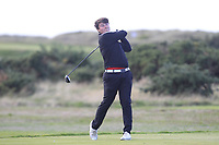 Tom Sloman from England on the 18th tee during Round 3 Singles of the Men's Home Internationals 2018 at Conwy Golf Club, Conwy, Wales on Friday 14th September 2018.<br /> Picture: Thos Caffrey / Golffile<br /> <br /> All photo usage must carry mandatory copyright credit (&copy; Golffile | Thos Caffrey)