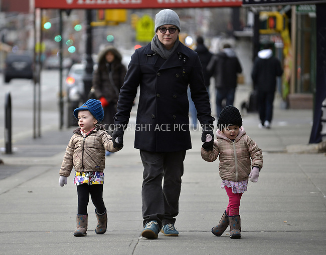 WWW.ACEPIXS.COM....February 7 2013, New York City....Actor Matthew Broderick takes twins Tabitha and Marion to school on February 7 2013 in New York City......By Line: Curtis Means/ACE Pictures......ACE Pictures, Inc...tel: 646 769 0430..Email: info@acepixs.com..www.acepixs.com