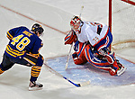9 December 2006: Buffalo Sabres center Daniel Briere (48) score during a shootout against Montreal Canadiens goaltender Cristobal Huet (39) of France at the Bell Centre in Montreal, Canada. The Sabres defeated the Canadiens 3-2 in a shootout, taking their third contest in the month of December. Mandatory Photo credit: Ed Wolfstein Photo<br />  *** Editorial Sales through Icon Sports Media *** www.iconsportsmedia.com