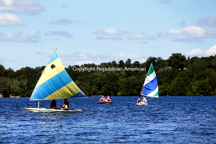 Middlebury, CT- 13 August 2017-081317CM02-   Watercraft take to the water on Lake Quassy in Middlebury on Sunday. Clear skies and mild winds provided the sailors and boaters a pleasant afternoon on the water.   According to the National Weather Service, Monday is expected to be seasonable with highs in the lower to mid 80s.    Christopher Massa Republican-American