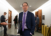 United States Senator Ron Wyden (Democrat of Oregon) makes a statement to the media in the hallway during a break in the testimony of Dr. Christine Blasey Ford  before the US Senate Committee on the Judiciary on the nomination of Judge Brett Kavanaugh to be Associate Justice of the US Supreme Court to replace the retiring Justice Anthony Kennedy on Capitol Hill in Washington, DC on Thursday, September 27, 2018.   <br /> Credit: Ron Sachs / CNP<br /> (RESTRICTION: NO New York or New Jersey Newspapers or newspapers within a 75 mile radius of New York City)