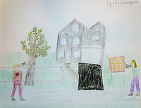 """""""Happy to Move to the Side"""" Drawing by Ella Lodewyckx, Grade 4, Yarmouth, ME, USA"""