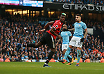 Paul Pogba of Manchester United flicks on the ball to score during the premier league match at the Etihad Stadium, Manchester. Picture date 7th April 2018. Picture credit should read: Simon Bellis/Sportimage