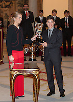 Princess Elena of Spain and Maverick Vinales attend the National Sports Awards ceremony at El Pardo Palace. December 05, 2012. (ALTERPHOTOS/Caro Marin) NortePhoto