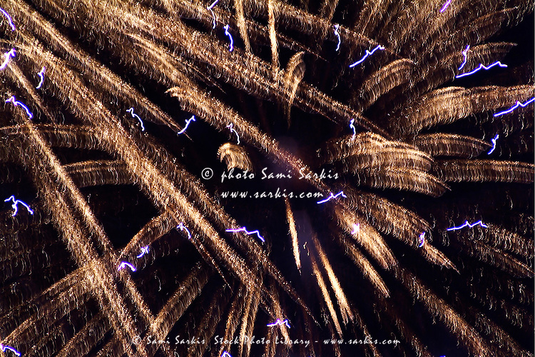 Fireworks light up the sky while celebrating Bastille Day, Marseille, France.