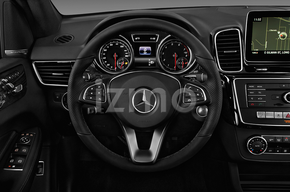 Car pictures of steering wheel view of a 2018 Mercedes Benz GLE-Class GLE350 5 Door SUV Steering Wheel