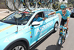 Jakob Fuglsang (DEN) Astana Pro team gets a drink from the team car during Stage 7 of La Vuelta 2019 running 183.2km from Onda to Mas de la Costa, Spain. 30th August 2019.<br /> Picture: Luis Angel Gomez/Photogomezsport | Cyclefile<br /> <br /> All photos usage must carry mandatory copyright credit (© Cyclefile | Luis Angel Gomez/Photogomezsport)