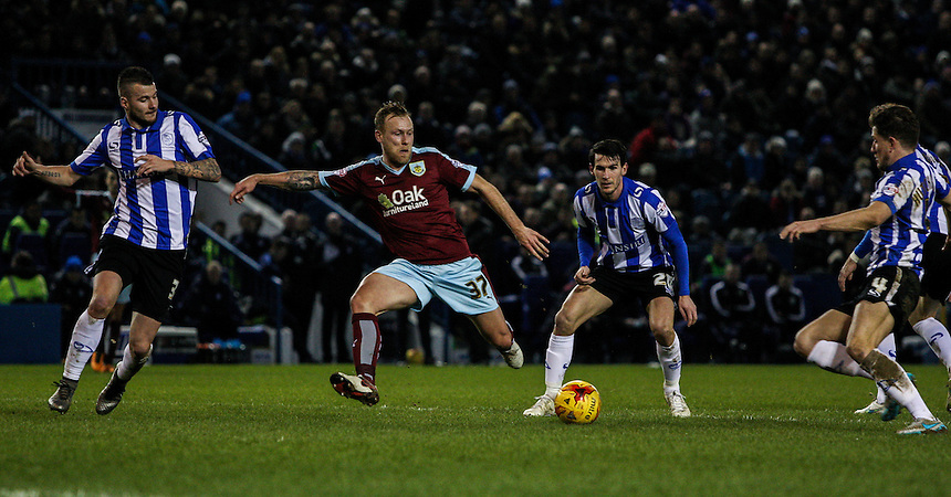 Burnley's Scott Arfield lines up a shot<br /> <br /> Photographer Alex Dodd/CameraSport<br /> <br /> Football - The Football League Sky Bet Championship - Sheffield Wednesday v Burnley - Tuesday 2nd February 2016 - Hillsborough - Sheffield<br /> <br /> &copy; CameraSport - 43 Linden Ave. Countesthorpe. Leicester. England. LE8 5PG - Tel: +44 (0) 116 277 4147 - admin@camerasport.com - www.camerasport.com