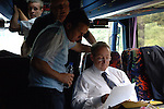 Aldershot Town 0 Torquay United 3, 15/08/2007. Plainmoor, Football Conference. Torquay's first game in the Blue Square Premier. A 330 mile round trip to Aldershot Town's Recreation Ground. Manager Paul Buckle and staff study notes on the team bus before departing on the long journey to Hampshire.
