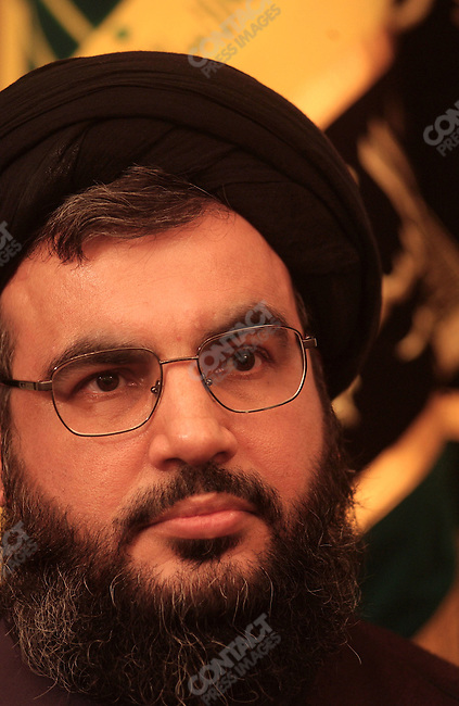 For the attention of foreign pix-For story by Neil MacFarquhar-Sayyid Hassan Nasrullah, secretary general of Hezbollah, during an interview at his office in south Beirut, Lebanon.<br />