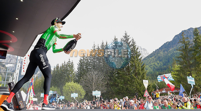 Pierre Rolland (FRA) Cannondale-Drapac wins Stage 17 of the 100th edition of the Giro d'Italia 2017, running 219km from Tirano to Canazei, Italy. 24th May 2017.<br /> Picture: LaPresse/Simone Spada | Cyclefile<br /> <br /> <br /> All photos usage must carry mandatory copyright credit (&copy; Cyclefile | LaPresse/Simone Spada)