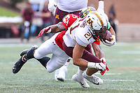 College Park, MD - September 22, 2018:  Minnesota Golden Gophers running back Bryce Williams (21) tackled by Maryland Terrapins defensive back Antoine Brooks Jr. (25) during the game between Minnesota and Maryland at  Capital One Field at Maryland Stadium in College Park, MD.  (Photo by Elliott Brown/Media Images International)