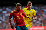 Spain national team player Jordi Alba and Sweden national team player Viktor Claesson during UEFA EURO 2020 Qualifier match between Spain and Sweden at Santiago Bernabeu Stadium in Madrid, Spain. June 10, 2019. (ALTERPHOTOS/A. Perez Meca)