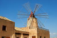 Mulino d'Infersa (mill of Infersa) wind mill, Ettore saltworks,  Saline della Laguna, Masala, Sicily.