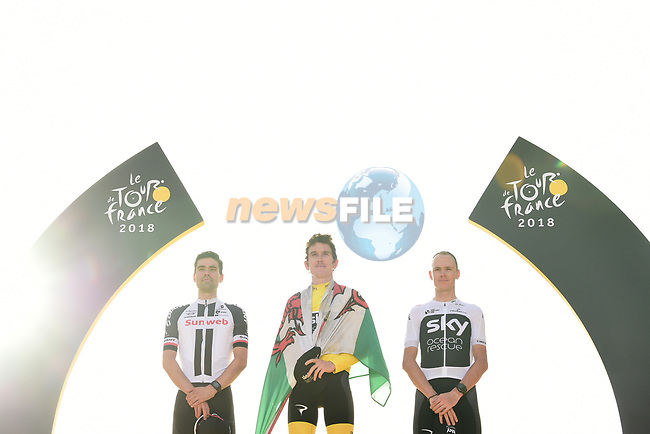 Geraint Thomas (WAL) Team Sky wins the overall Yellow Jersey, with Tom Dumoulin (NED) Team Sunweb finishing in 2nd place and Chris Froome (GBR) Team Sky in 3rd, on the podium at the end of Stage 21 of the 2018 Tour de France running 116km from Houilles to Paris Champs-Elysees, France. 29th July 2018. <br /> Picture: ASO/Pauline Ballet | Cyclefile<br /> All photos usage must carry mandatory copyright credit (© Cyclefile | ASO/Pauline Ballet)