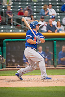 Scott Schebler (8) of the Oklahoma City Dodgers at bat against the Salt Lake Bees in Pacific Coast League action at Smith's Ballpark on May 27, 2015 in Salt Lake City, Utah.  (Stephen Smith/Four Seam Images)