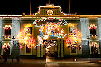 The Museum of Puerto Rican Music, decorated for the holiday season, at the Plaza Las Delicias in Ponce, Puerto Rico on 2nd January 2012.