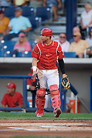 Williamsport Crosscutters catcher Rafael Marchan (13) during a game against the Mahoning Valley Scrappers on August 28, 2018 at BB&T Ballpark in Williamsport, Pennsylvania.  Williamsport defeated Mahoning Valley 8-0.  (Mike Janes/Four Seam Images)