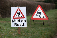Mud on the road warning signs<br /> &copy;Tim Scrivener Photographer 07850 303986<br />      ....Covering Agriculture In The UK....