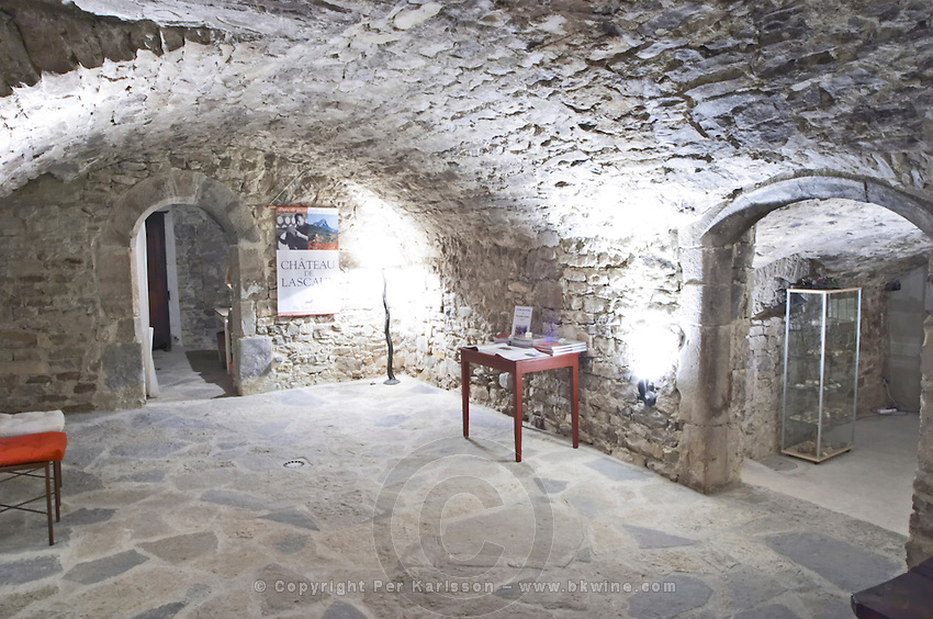 The cellar vault where old roman coins have been found, now converted to tasting room. Chateau de Lascaux, Vacquieres village. Pic St Loup. Languedoc. France. Europe.