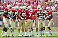 September 04, 2010:   Florida State Seminoles quarterback Christian Ponder (7) call a play in the huddle during first half action between the Florida State Seminoles and the Samford Bulldogs at Doak Campbell Stadium in Tallahassee, Florida.  Florida State defeated Samford 59-6.