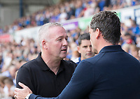 Paul Lambert, Manager of Ipswich Town greets Jack Ross, Manager of Sunderland during Ipswich Town vs Sunderland AFC, Sky Bet EFL League 1 Football at Portman Road on 10th August 2019