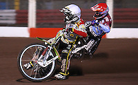 Heat 1: Leigh Adams (white) and Lee Richardson (red) - Lakeside Hammers vs Swindon Robins, Elite League Speedway at the Arena Essex Raceway, Purfleet - 03/09/10 - MANDATORY CREDIT: Rob Newell/TGSPHOTO - Self billing applies where appropriate - 0845 094 6026 - contact@tgsphoto.co.uk - NO UNPAID USE.
