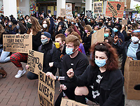 Hundreds of people turned out in Bedford town centre, to hold a peaceful demonstration as part of a worldwide Black Lives Matter solidarity Protest triggered by the death in the USA of George Floyd, while in police custody. Bedford, UK June 8th 2020<br /> <br /> Photo by Keith Mayhew