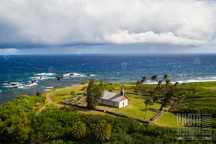 Old Huialoha Church, on the sea, Kaupo, Maui.