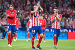 Atletico de Madrid's Stefan Savic, Gabi Fernandez and Koke Resurreccion during La Liga match between Atletico de Madrid and Malaga CF at Wanda Metropolitano in Madrid, Spain September 16, 2017. (ALTERPHOTOS/Borja B.Hojas)