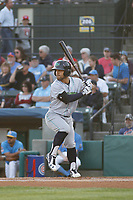Lynchburg Hillcats outfielder Ka'ai Tom at bat during a game against the Myrtle Beach Pelicans at Ticketreturn Field at Pelicans Ballpark on April 14, 2017 in Myrtle Beach, South Carolina. Lynchburg defeated Myrtle Beach 5-2. (Robert Gurganus/Four Seam Images)