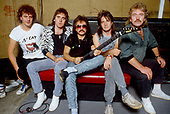 URIAH HEEP - L-R: John Sinclair, Steff Fontaine,Mick Box, Trevor Bolder, Lee Kerslake -- photosession in London UK - 1986.  Photo credit: George Bodnar Archive/IconicPix