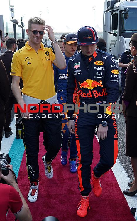 01.12.2019, Yas Marina Circuit, Abu Dhabi, FORMULA 1 ETIHAD AIRWAYS ABU DHABI GRAND PRIX 2019<br />, im Bild<br />Nico Hülkenberg (GER#27), Renault F1 Team, Max Verstappen (NEL#33), Aston Martin Red Bull Racing<br /> <br /> Foto © nordphoto / Bratic