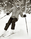 USA, Colorado, woman skiing, Telluride (B&W)