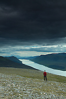 A walker on the Munro of Geal Charn above the Drumochter Pass and Loch Ericht, Monadhliath, Cairngorm National Park, Highlands<br /> <br /> Copyright www.scottishhorizons.co.uk/Keith Fergus 2011 All Rights Reserved