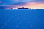 Salar de Uyuni at sunrise; largest salt pan on earth; Altiplano, Bolivia