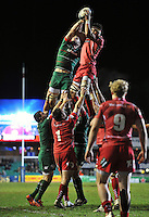 Tom Croft of Leicester Tigers and Aaron Shingler of the Scarlets compete for the ball at a lineout. European Rugby Champions Cup match, between Leicester Tigers and the Scarlets on January 16, 2015 at Welford Road in Leicester, England. Photo by: Patrick Khachfe / JMP