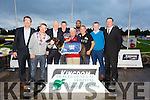 Curious Boy winner of the Kerry Group Hospital Sweepstake Final at the Kingdom Greyhound Stadium on Friday Pictured l-r Declan Dowling, Jerry Brennan, Frank Hayes , Kerry Group, Jerry Hollan,Trainer ,Tommy Brennan (John and Tom Reilly Doncaster Scrap syn), Owners,  Jazz Cing, Mark Sullivan , John Brennan, Kieran Casey