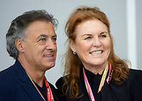 Jean Alesi (L) and  Sarah Ferguson (R) during the Bahrain Grand Prix at Bahrain International Circuit, Sakhir,  on 31 March 2019. Photo by Vince  Mignott.