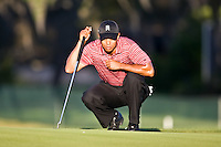 March 29, 2009, Arnold Palmer Invitation.  Tiger Woods lines up a putt on the 15th green during final round play  at Bay Hill Golf Club in Orlando, Florida...