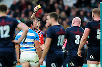 Referee Pascal Gauzere shows Dan Cole of England a yellow card. Old Mutual Wealth Series International match between England and Argentina on November 26, 2016 at Twickenham Stadium in London, England. Photo by: Patrick Khachfe / Onside Images